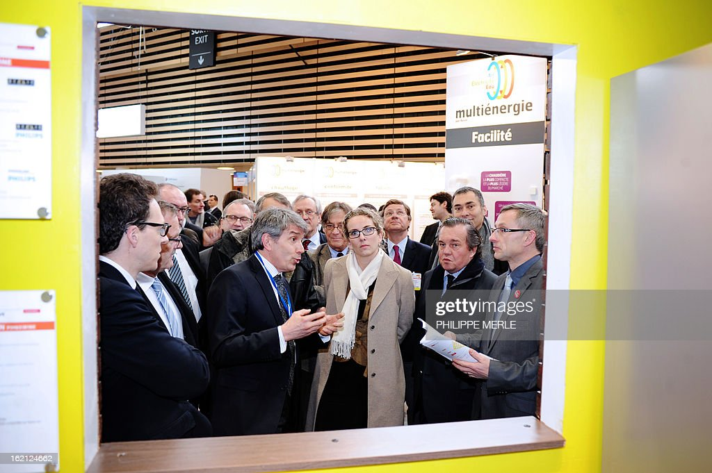 Fench Ecology minister Delphine Batho (C) is pictured as she takes part in the inauguration of the fair for sustainable energy on February 19, 2013 in Chassieu, near Lyon.
