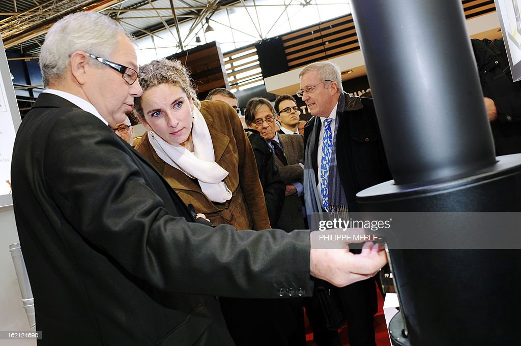 Fench Ecology minister Delphine Batho (2ndL) speaks with an exhibitor as she takes part in the inauguration of the fair for sustainable energy on February 19, 2013 in Chassieu, near Lyon. AFP PHOTO PHILIPPE MERLE