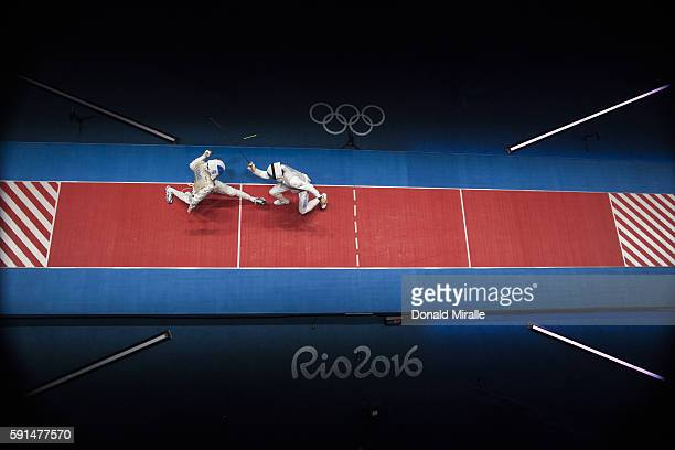 2016 Summer Olympics Aerial view of France Jeremy Cadot in action vs Russia Alexey Cheremisinov during Men's Team Foil Gold Medal Match at Carioca...