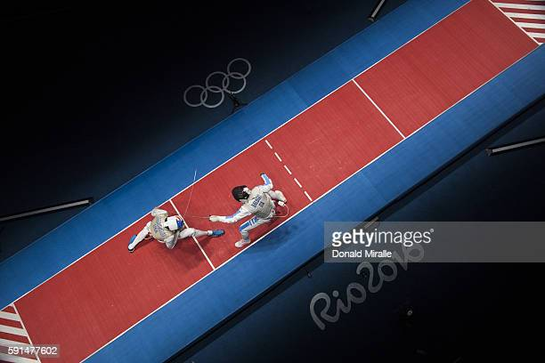 2016 Summer Olympics Aerial view of USA Gerek Meinhardt in action vs Italy Andrea Baldini during Men's Team Foil Bronze Medal Match at Carioca Arena...
