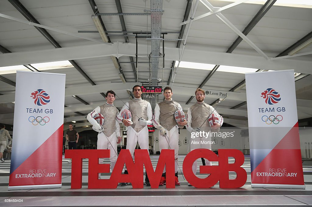 Fencing athletes (L-R) Marcus Mepstead,James Davis, <a gi-track='captionPersonalityLinkClicked' href=/galleries/search?phrase=Richard+Kruse&family=editorial&specificpeople=224788 ng-click='$event.stopPropagation()'>Richard Kruse</a> and Laurence Halsted and during the announcement of Fencing Athletes Named in Team GB for the Rio 2016 Olympic Games at British Fencing's Elite Training Centre on May 5, 2016 in London, England.