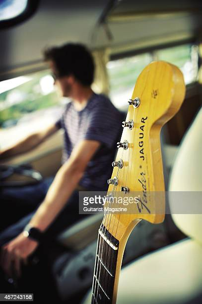 A Fender Jaguar electric guitar photographed in a Volkswagen Camper van for a feature on surf rock taken on July 1 2011