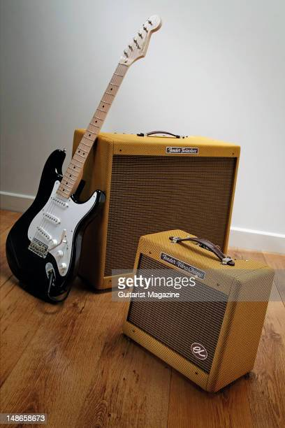Fender Stratocaster electric guitar EC Series Twinolux 2x12 and EC Series VibroChamp 1x8 electric guitar amplifiers during a studio shoot for...