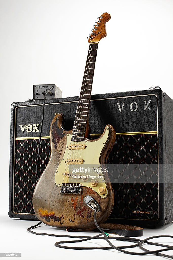 Fender Stratocaster electric guitar, Vox AC30 amplifier and Rangemaster treble booster owned by the late Irish musician Rory Gallagher, photographed during a studio shoot for Guitarist Magazine, March 1, 2012.