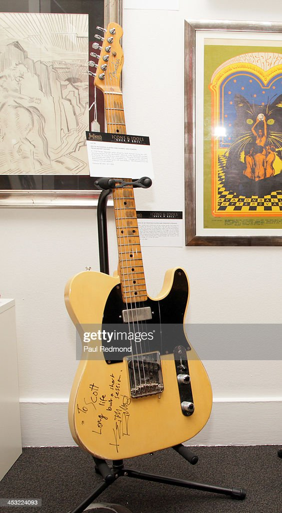 A Fender Telecaster guitar autographed by musician Keith Richards at Julien's Auctions present The Trilogy Collection: Props and Costumes from Middle Earth, Street Art Auction and Icons and Idols: Rock n' Roll Memorabilia at Julien's Gallery on December 2, 2013 in Beverly Hills, California.