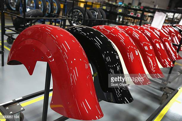 Fenders for Indian motorcycles sit along the assembly line at the Polaris Industries factory on August 8 2014 in Spirit Lake Iowa Polaris Industries...