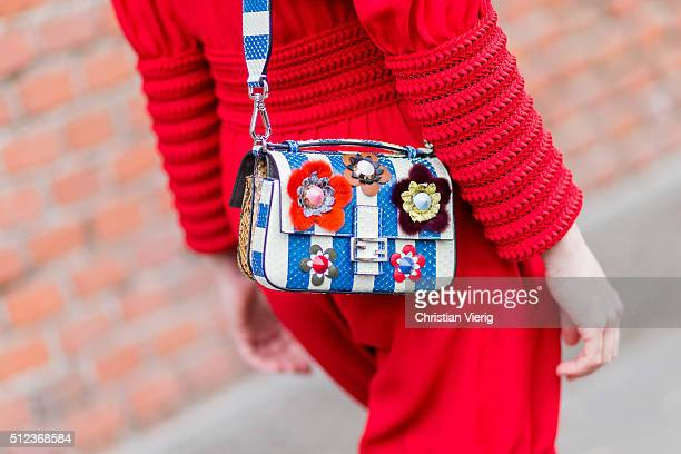 Fendi bag seen outside Fendi during Milan Fashion Week Fall/Winter 2016/17 on February 25 in Milan Italy