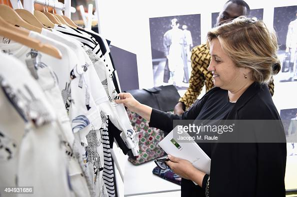 Fendi designer Silvia Venturini Fendi visits the Designer Showcase during the Vogue Fashion Dubai Experience 2015 at The Dubai Mall on October 30...
