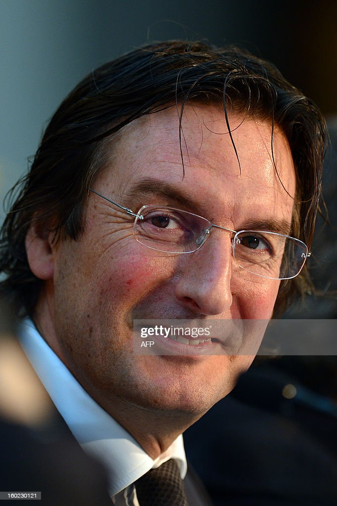 Fendi's CEO Pietro Beccari reacts during a press conference announcing Fendi would finance a renovation of the Trevi Fountain in Rome on January 28, 2013 at the Capitoline museums in Rome. The 2.12-million euro ($2.85-million) repairs on the 300-year-old fountain will be finished by 2015, Rome city hall and Fendi said in a joint statement. AFP PHOTO / GABRIEL BOUYS