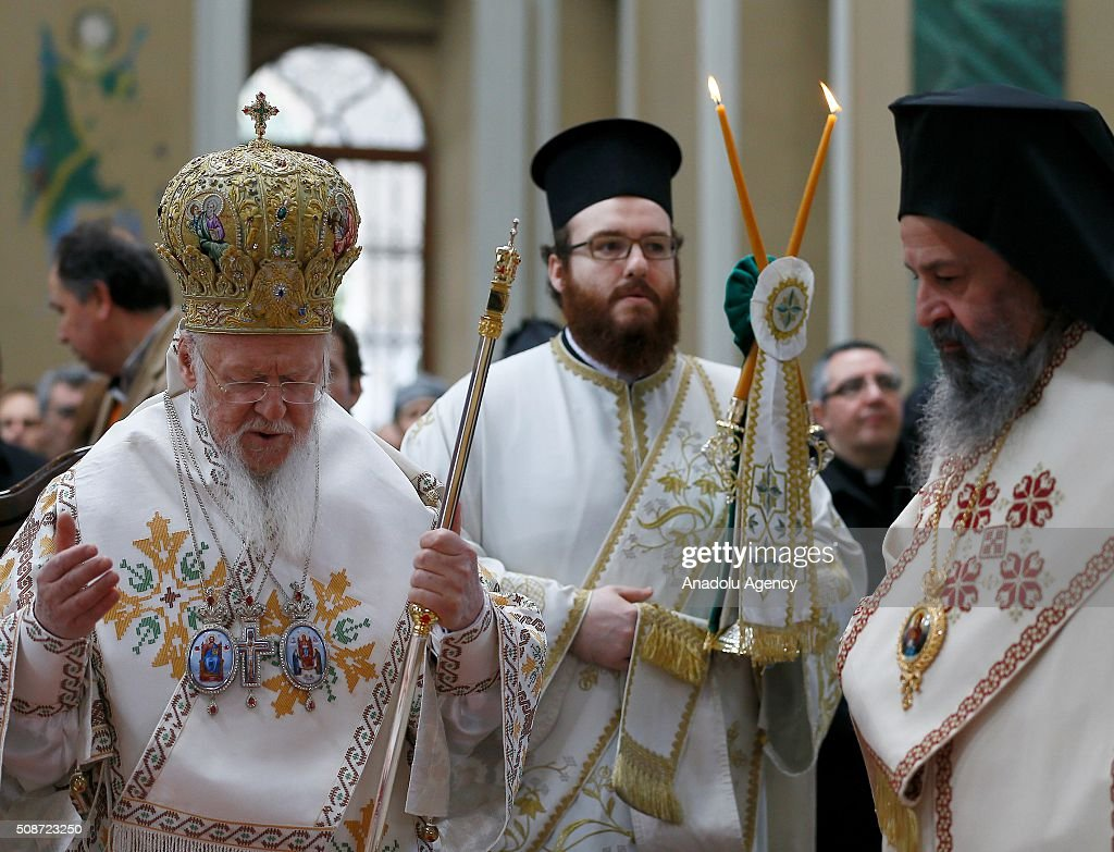 Fener Greek Patriarch Bartholomeos (L) leads a Orthodox Christian mass held at Saint Vukulos Church in Izmir, Turkey on February 6, 2016.
