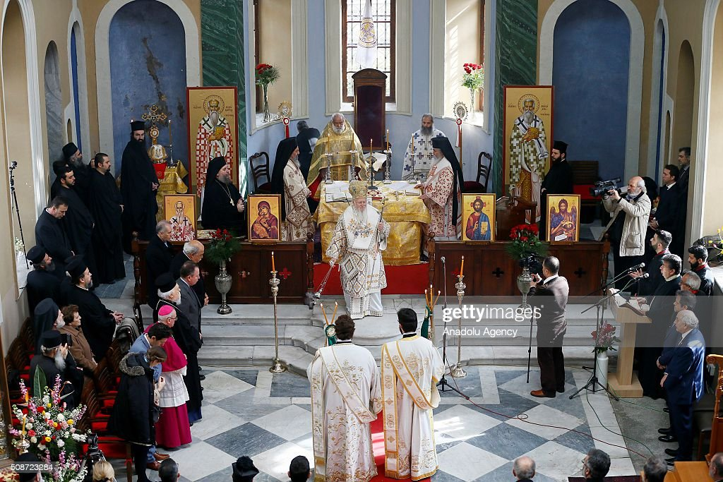 Fener Greek Patriarch Bartholomeos (C) leads a Orthodox Christian mass held at Saint Vukulos Church in Izmir, Turkey on February 6, 2016.