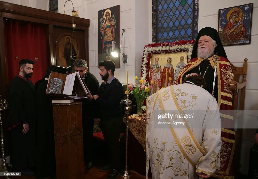 Fener Greek Patriarch Bartholomeos (R) leads a Sunday mass held at Aya Fotini os Church in Konak district of Izmir, Turkey on February 7, 2016.