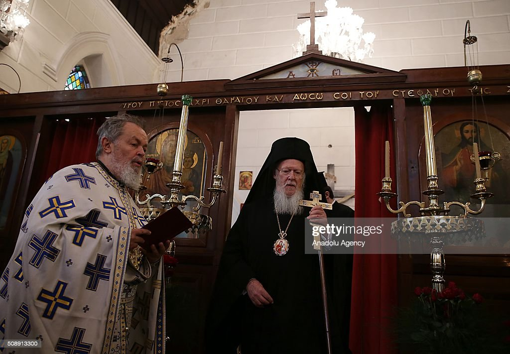 Fener Greek Patriarch Bartholomeos (C) leads a Sunday mass held at Aya Fotini os Church in Konak district of Izmir, Turkey on February 7, 2016.