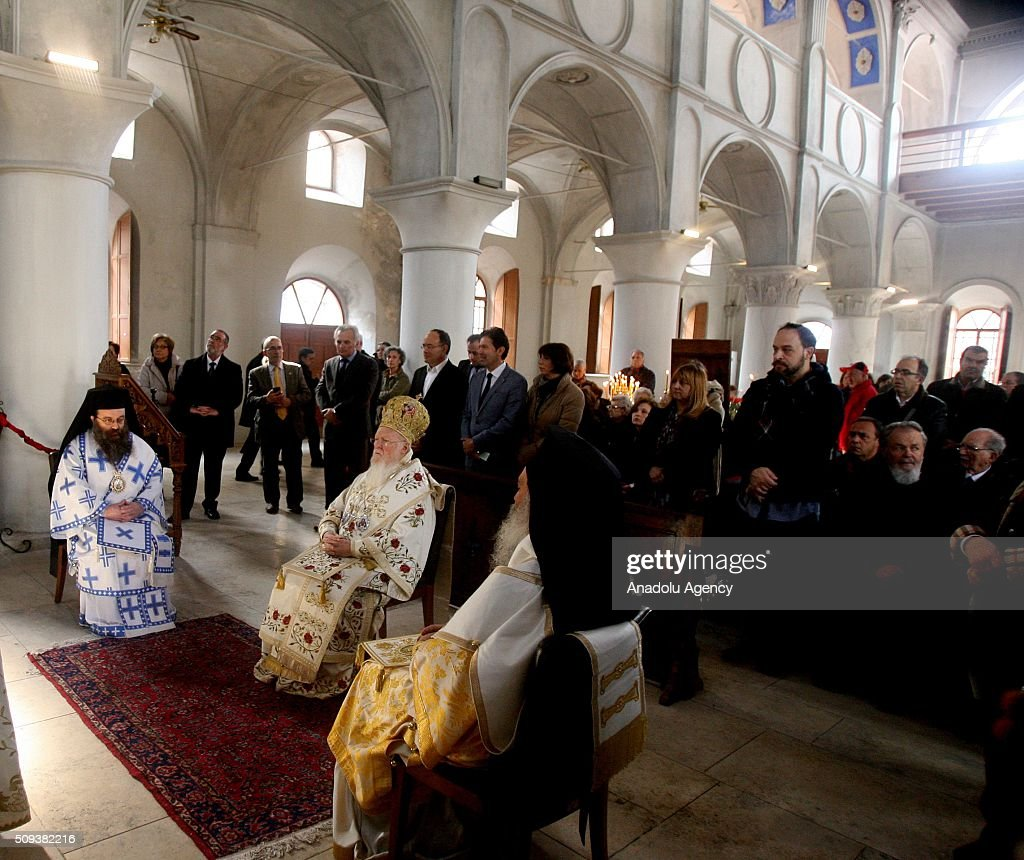 Fener Greek Patriarch Bartholomew I leads a mass at Cesme Hagia Haralambos Church Cultural Center in Izmir, Turkey on February 10, 2016. This is the first mass held at Cesme Hagia Haralambos Church in a century.