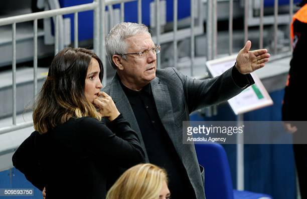 Fenerbahce chairman Aziz Yildirim gestures as watches the Turkish Airlines Euroleague Top 16 Round 7 Group E match between Fenerbahce Ulker and...