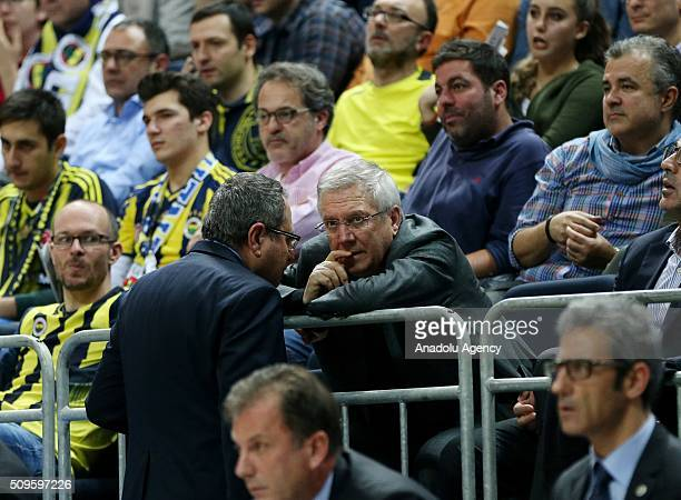 Fenerbahce chairman Aziz Yildirim watches the Turkish Airlines Euroleague Top 16 Round 7 Group E match between Fenerbahce Ulker and Unicaja Malaga at...