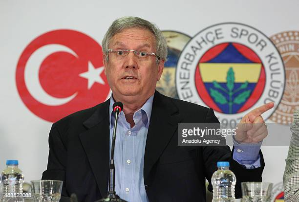 Fenerbahce club chairman Aziz Yildirim attends a signing ceremony with Fenerbahce's new head coach Ismail Kartal in Istanbul Turkey on August 12 2014