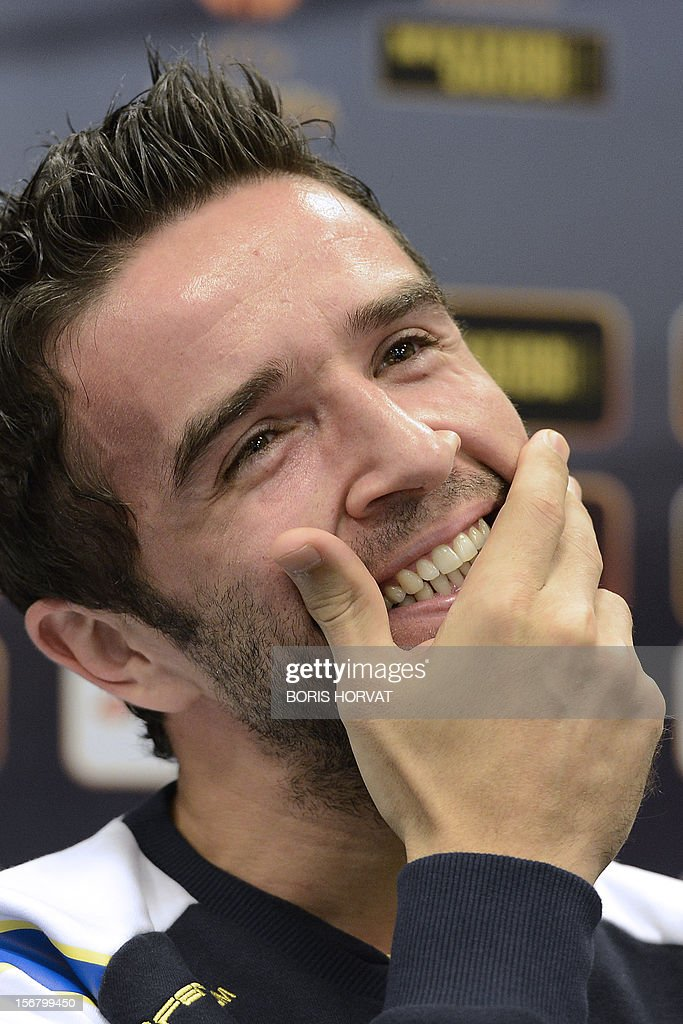 Fenerbahce defender Gokhan Gonul smiles on November 21, 2012 during a press conference at the Velodrome stadium in Marseille, on the eve of a UEFA Europa League qualifying match against Marseille.