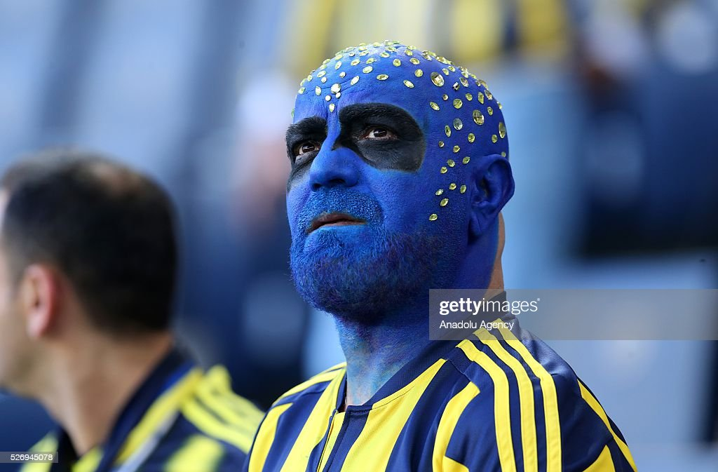 Fenerbahce fan is seen during the Turkish Super Toto Super Lig football match between Fenerbahce and Gaziantepspor at at Sukru Saracoglu Ulker Spor Complex in Istanbul, Turkey on 01 May, 2016.