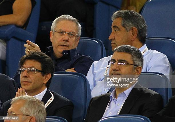 Fenerbahce Football Club's President Aziz Yildirim is seen during the friendly match between AS Roma and Fenerbahce at Olympic Stadium in Rome Italy...