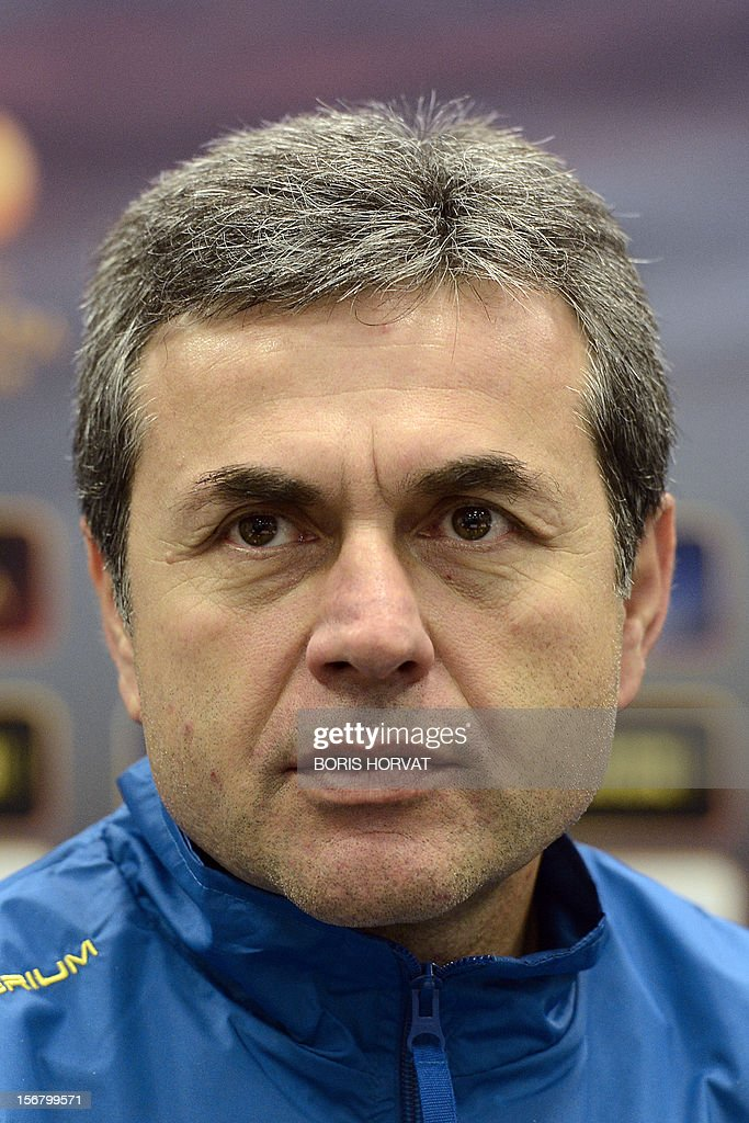 Fenerbahce head coach Aykut Kocaman gives a press conference on November 21, 2012 at the Velodrome stadium in Marseille, on the eve of a UEFA Europa League qualifying match against Marseille.