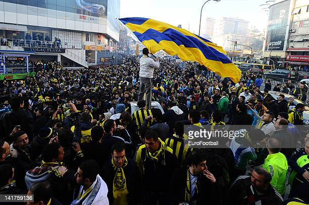 Fenerbahce SK supporters outside the Sukru Saracoglu Stadium home of Fenerbahce SK taken during the Turkish Spor Toto Super Lig match between...