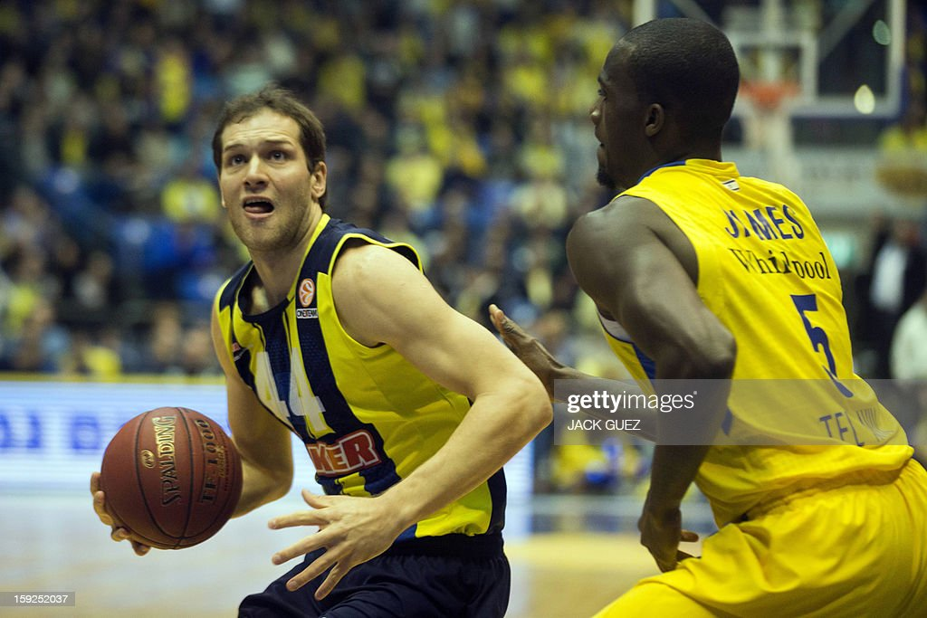 Fenerbahce Ulker's Croatian forward Bojan Bogdanovic (L) vies with Maccabi Tel Aviv's US centre Shawn James (R) during their Euroleague top 16 basketball match on January 10, 2013, at the Nokia stadium in the Mediterranean coastal city of Tel Aviv. AFP PHOTO / JACK GUEZ