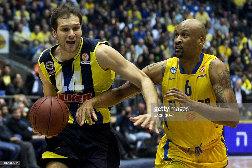 Fenerbahce Ulker's Croatian forward Bojan Bogdanovic (L) vies with Maccabi Tel Aviv's US guard Devin Smith (R) during their Euroleague top 16 basketball match on January 10, 2013, at the Nokia stadium in the Mediterranean coastal city of Tel Aviv.