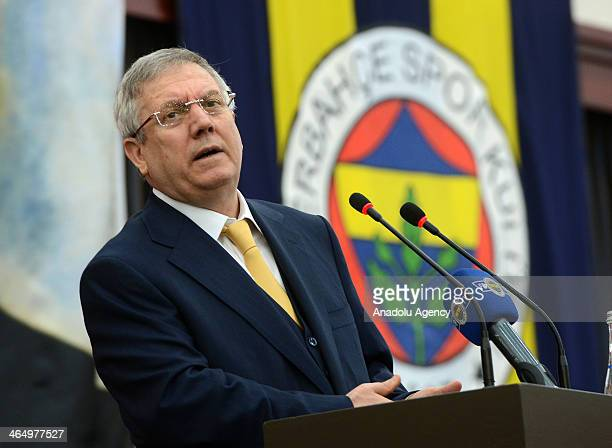 Fenerbahce's Chairman Aziz Yildirim speaks during the Fenerbahce Club Board Meeting in Istanbul Turkey on January 25 2014 Turkeys highest court in...