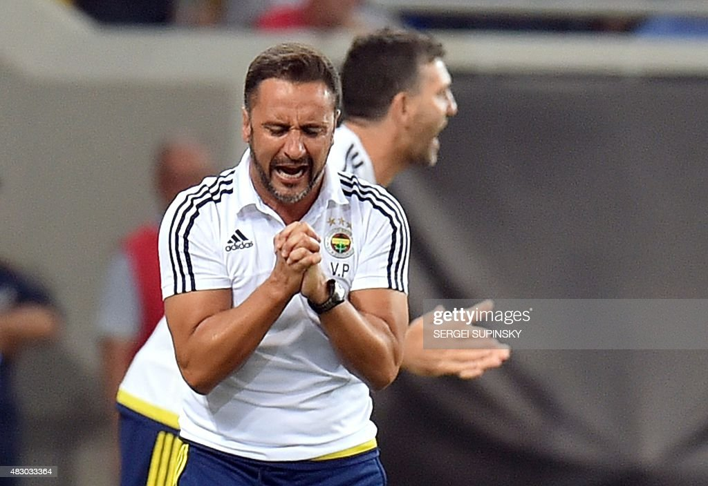 Fenerbahce's coach <a gi-track='captionPersonalityLinkClicked' href=/galleries/search?phrase=Vitor+Pereira+-+Soccer+Coach&family=editorial&specificpeople=8936057 ng-click='$event.stopPropagation()'>Vitor Pereira</a> reacts during the UEFA Champions League third qualifying round football match between FC Shakhtar Donetsk and Fenerbahce SC in Lviv on August 5, 2015. AFP PHOTO / SERGEI SUPINSKY