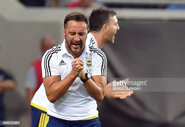 Fenerbahce's coach Vitor Pereira reacts during the UEFA Champions League third qualifying round football match between FC Shakhtar Donetsk and...
