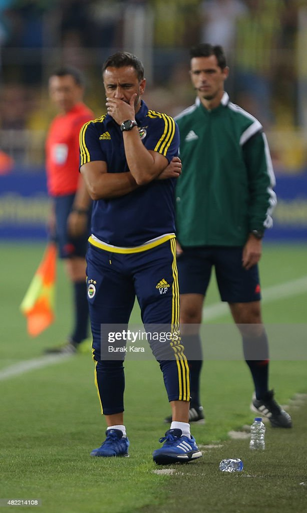 Fenerbahce's coach Vítor Pereira reacts during UEFA Champions League Third Qualifying Round 1st Leg match betweeen Fenerbahce v Shakhtar Donetsk at Sukru Saracoglu Stadium on July 28, 2015 in Istanbul, Turkey.