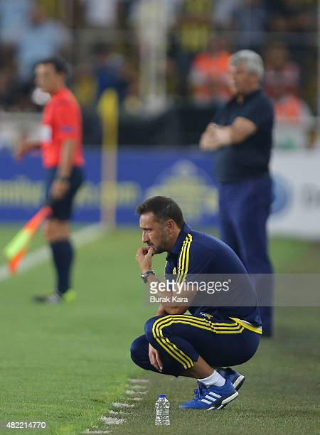 Fenerbahce's coach Vítor Pereira watches the match during UEFA Champions League Third Qualifying Round 1st Leg match betweeen Fenerbahce v Shakhtar...