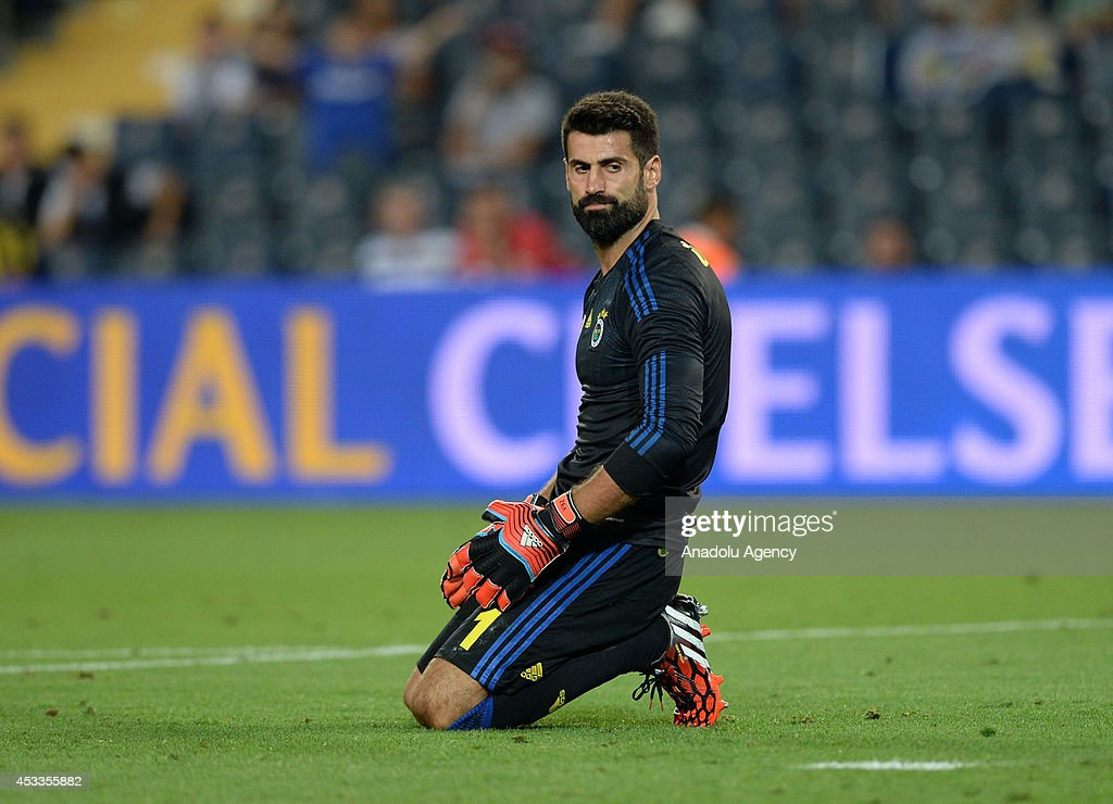 Fenerbahce's keeper Volkan Demirel is sad after conceding during the match between Fenerbahce and Chelsea, within a charity tournament for the families of Soma mining disaster victims, at Fenerbahce Sukru Saracoglu Stadium in Istanbul, Turkey on August 9, 2014.