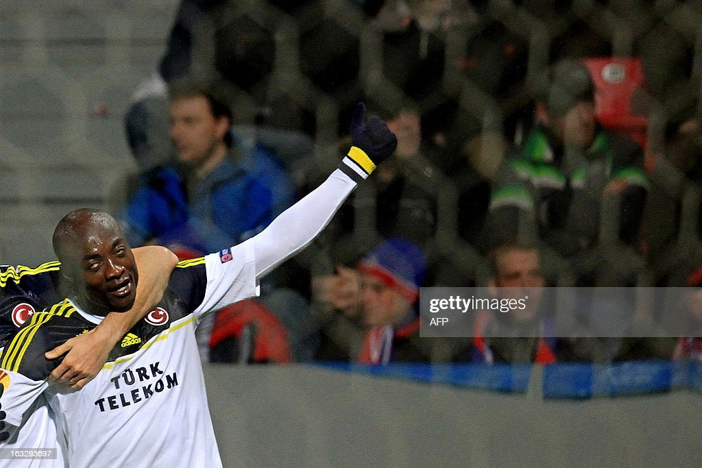 Fenerbahce's Pierre Webo celebrates a goal during the UEFA Europa League Round of 16 first leg football match FC Viktoria Plzen vs Fenerbahce SK in Plzen, Czech Republic, on March 7, 2013.