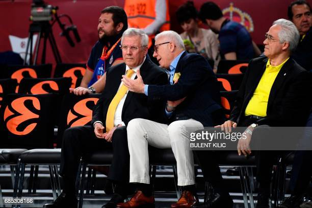 Fenerbahce's president Aziz Yildirim and Turkish Hurriyet journalist Ertugrul Ozkok attend the Euroleague Final Four semifinal basketball match...