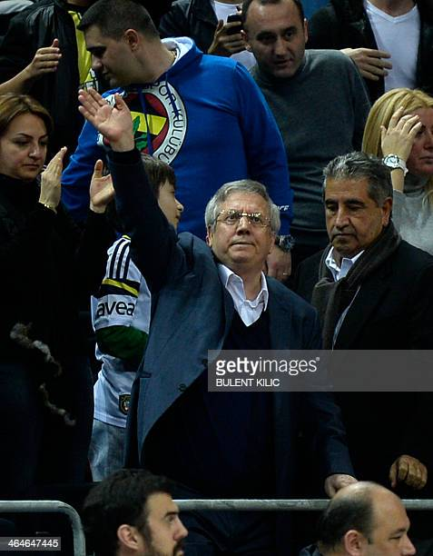 Fenerbahce's president Aziz Yildirim gestures during the Euroleague basketball match between Fenerbahce and Panathinaikos at Ulker Sport Arena in...