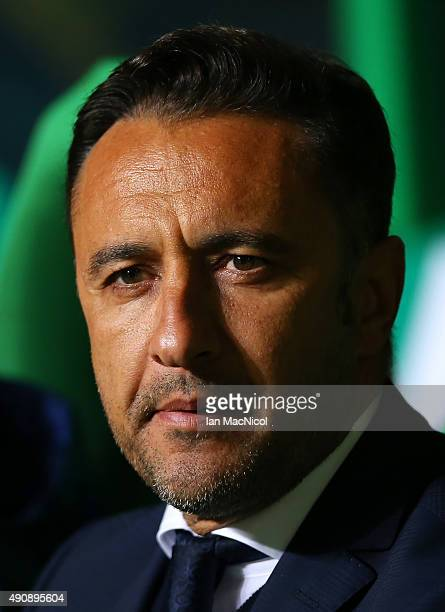 Fenerbahe coach Vitor Pereira looks on during the UEFA Europa League match between Celtic FC and Fenerbahce SK at Celtic Park on October 01 2015 in...