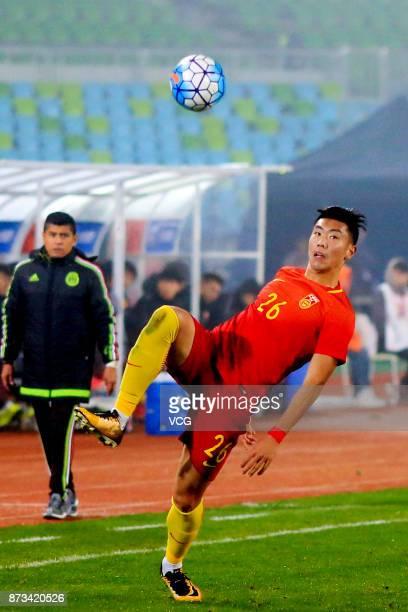 Feng Boyuan of China reacts during the CFA International Youth Football Tournament Duyun 2017 between U22 China and U22 Mexico at Qiannan Nationwide...