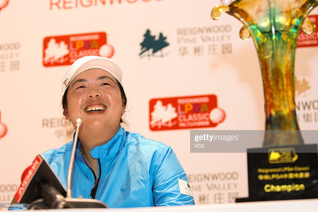 Feng Shanshan of China attends a press conference during the closing ceremony of the Reignwood LPGA Classic at Pine Valley Golf Club on October 6, 2013 in Beijing, China.