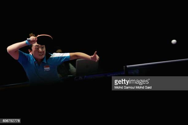 Feng Tian Wei of Singapore in action during against Zhou Yihan of Singapore at Women's singles final competition as a part of the 2017 SEA Games on...