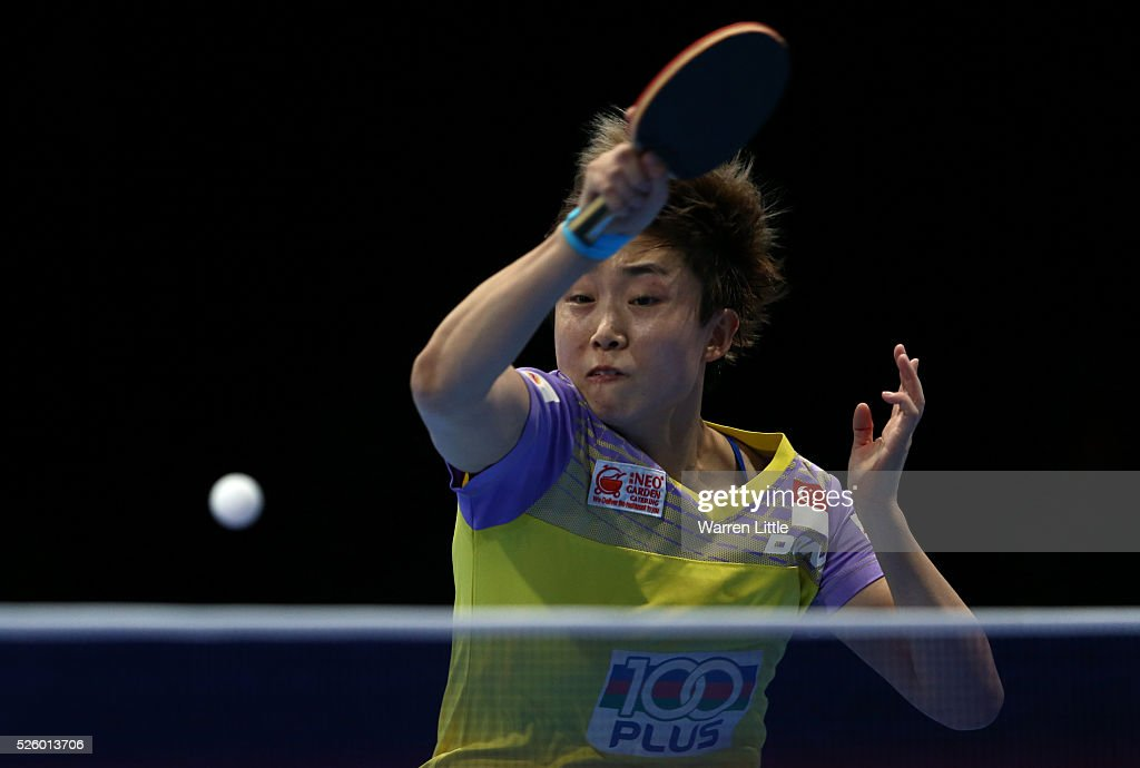 <a gi-track='captionPersonalityLinkClicked' href=/galleries/search?phrase=Feng+Tianwei&family=editorial&specificpeople=4920585 ng-click='$event.stopPropagation()'>Feng Tianwei</a> of Singapore in action against Li Xiaoxia of China during the semi final of the Women's Singles matches on day two of the Nakheel Table Tennis Asian Cup 2016 at Dubai World Trade Centre on April 29, 2016 in Dubai, United Arab Emirates.