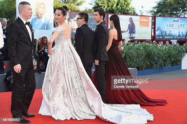 Feng Xiaogang Xu Qing guestZhang Yuxian attends the closing ceremony and premiere of 'Lao Pao Er' during the 72nd Venice Film Festival on September...
