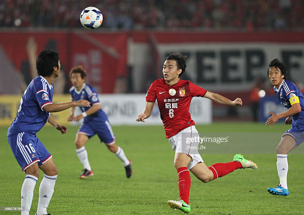 Feng Xiaoting of Guangzhou Evergrande in action during the AFC Asian Champions League match between Guangzhou Evergrande and Yokohama F. Marinos at Tianhe Sports Center on April 22, 2014 in Guangzhou, China.