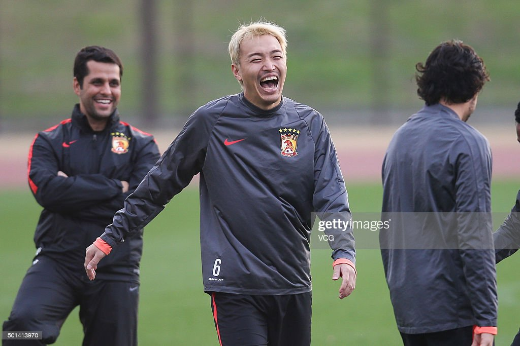 Feng Xiaoting of Guangzhou Evergrande smiles during a team training session for the Club World Cup football tournament on December 15, 2015 in Yokohama, Japan. Asian champions Guangzhou Evergrande of China will play against Barcelona in the semi-finals in Yokohama on December 17.