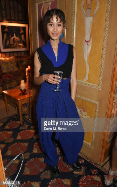 Fenn O'Meally attends The Fashion Awards 2017 nominees party in partnership with Swarovski at 5 Hertford Street on October 23 2017 in London England