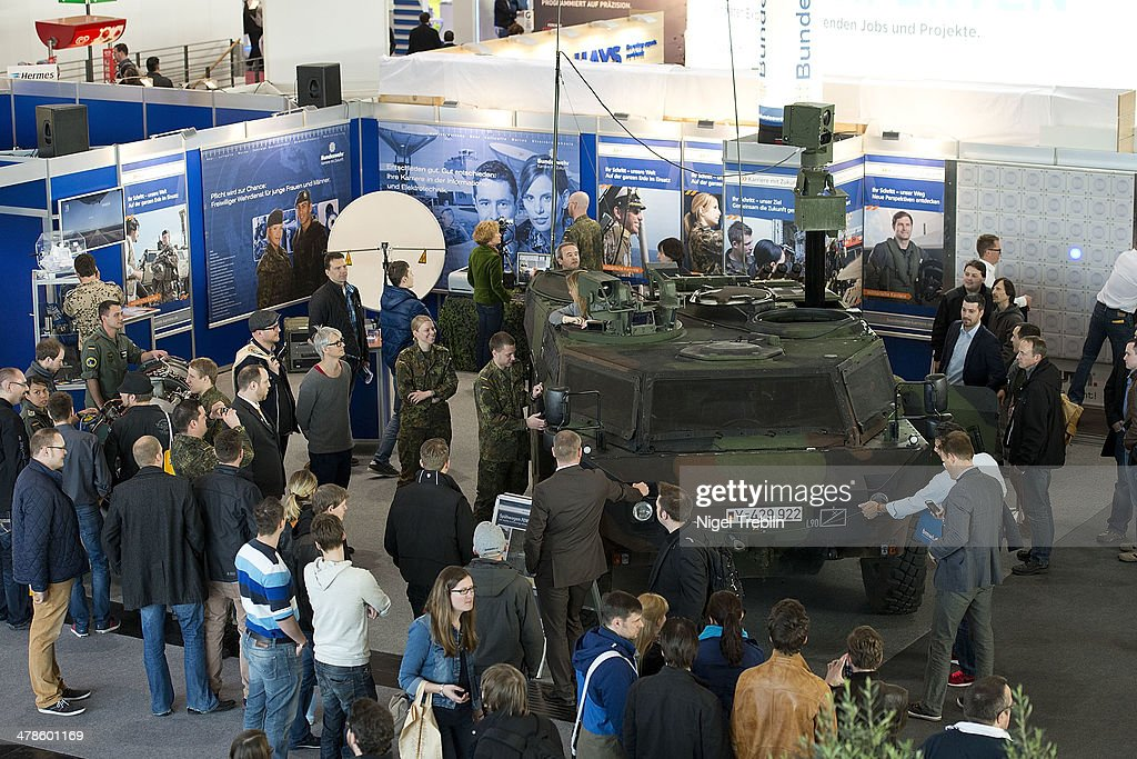 A Fennek armoured reconaissance vehicle is seen at the recruiting stand of the German armed forces, the Bundeswehr, at the 2014 CeBIT technology Trade fair on March 14, 2014 in Hanover, Germany. CeBIT is the world's largest technology fair and this year's partner nation is Great Britain.
