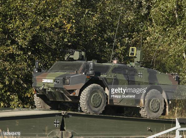 Fennek armoured reconaissance vehicle is seen during the annual military exercises held for the media at the Bergen military training grounds on...