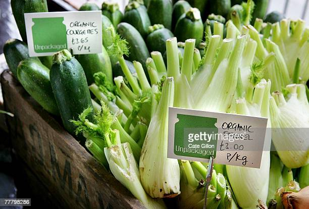 Fennel and courgettes in Unpackaged the 'Bring you own packaging' organic grocery shop opens on November 8 2007 in London England Catherine Conway...