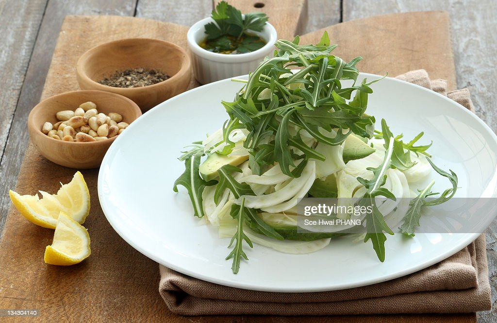 Fennel, arugula and avocado salad : Stock Photo